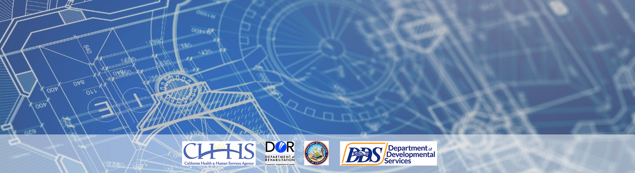 closeup of a blueprint with the logos of chhs, dor, cde and dhhs superimposed over it